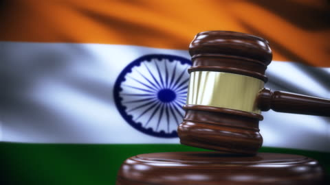 judge gavel with india flag background - law stock videos & royalty-free footage