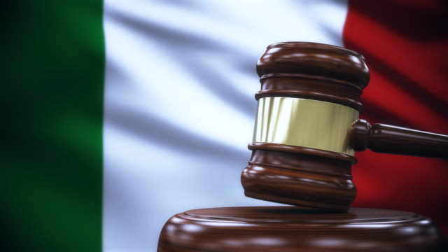 Judge Gavel with Italy Flag Background