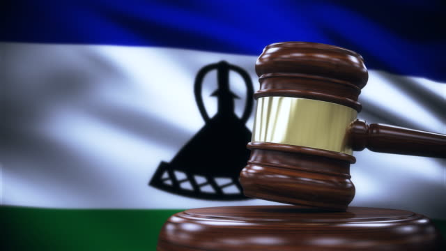 Judge Gavel with Lesotho Flag Background