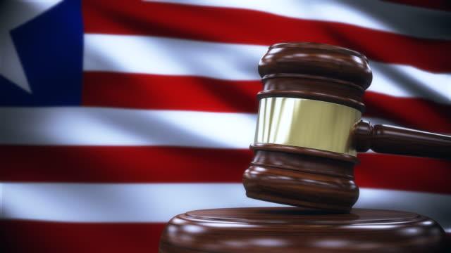 Judge Gavel with Liberia Flag Background