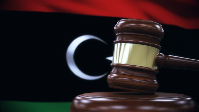Judge Gavel with Libya Flag Background