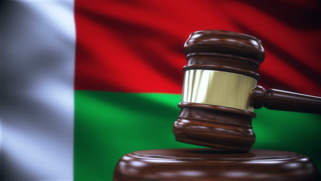 Judge Gavel with Madagascar Flag Background