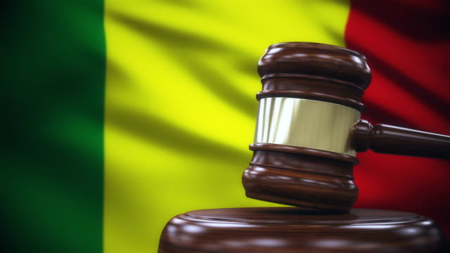 Judge Gavel with Mali Flag Background