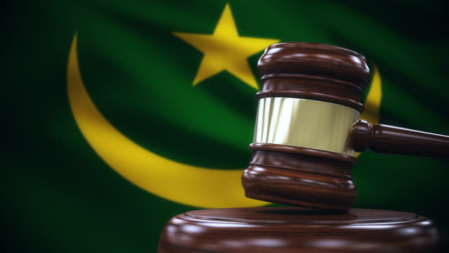 Judge Gavel with Mauritania Flag Background