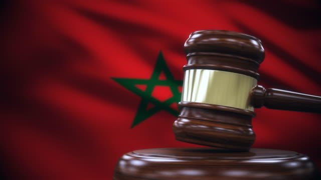 Judge Gavel with Morocco Flag Background