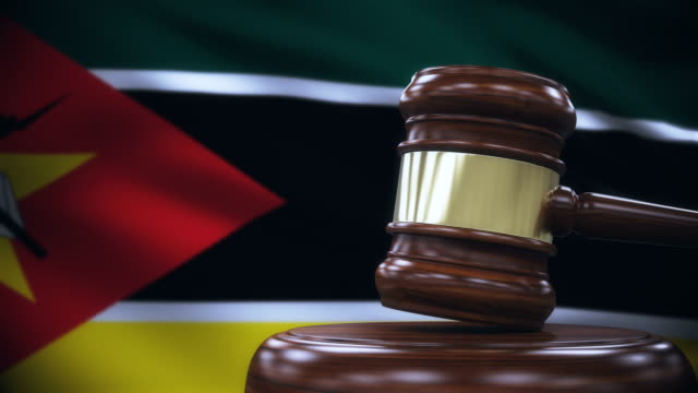 Judge Gavel with Mozambique Flag Background