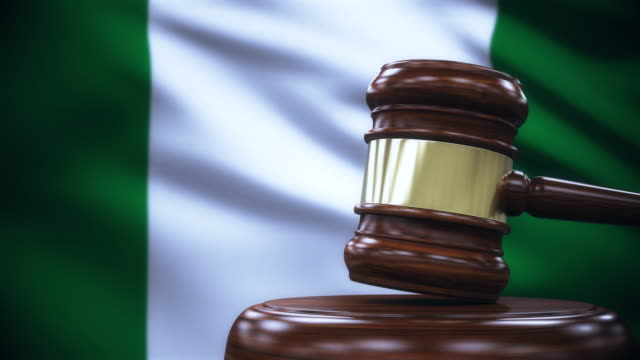Judge Gavel with Nigeria Flag Background