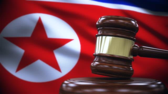 Judge Gavel with North Korea Flag Background