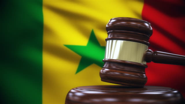 Judge Gavel with Senegal Flag Background
