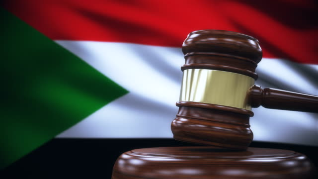 Judge Gavel with Sudan Flag Background