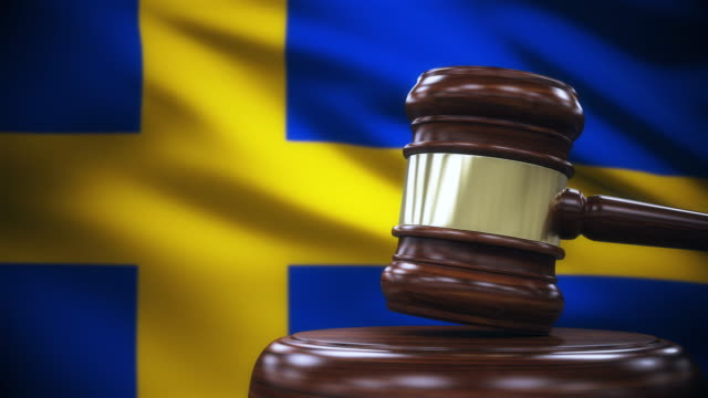 judge gavel with sweden flag background - gavel stock videos & royalty-free footage