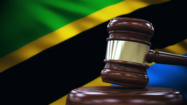 Judge Gavel with Tanzania Flag Background