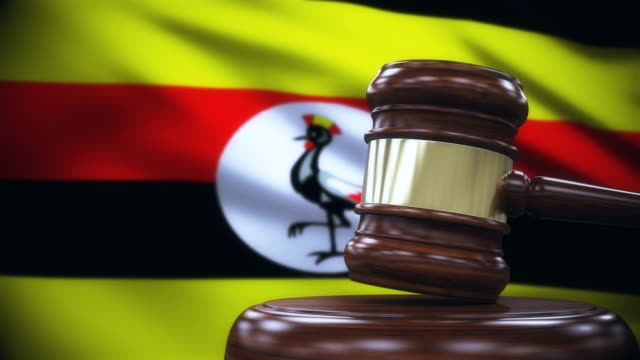 Judge Gavel with Uganda Flag Background