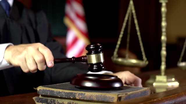 judge in court using gavel - super slow motion (usa) - equal arm balance stock videos and b-roll footage