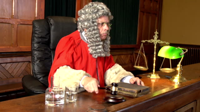 Judge in Courthouse, Wig and Red Robe - Two Shots