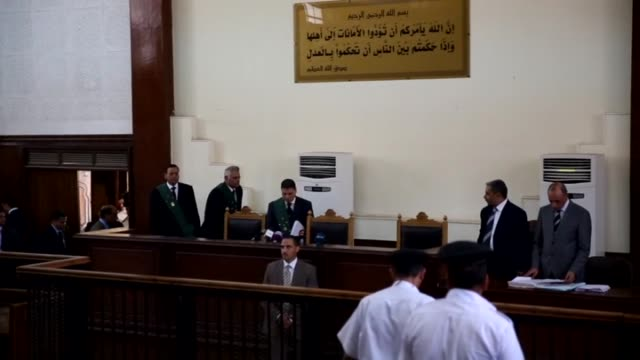 judge mohammed shereen is seen in a courtroom during the trial of defendants accused of forming an al-qaeda-linked cell, in cairo, egypt on october... - ayman al zawahiri stock videos & royalty-free footage