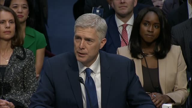 judge neil gorsuch is sworn in by senate judiciary chairman chuck grassley on the first day of his confirmation hearing to become a supreme court,... - oath stock videos & royalty-free footage