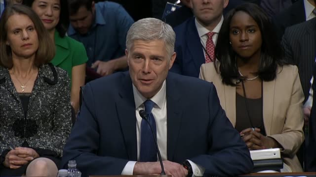 judge neil gorsuch reads his prepared statement to the senate judiciary committee on the first day of his confirmation hearing to become a supreme... - senate judiciary committee stock videos & royalty-free footage