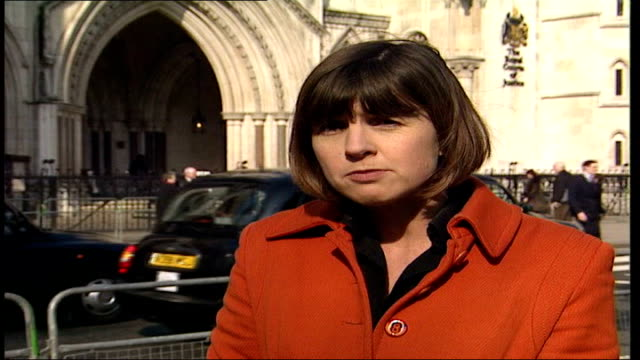 judge refuses doctors permission to withdraw ventilation from 'baby m' england london high court reporter to camera low angle general view of royal... - household fixture stock videos and b-roll footage