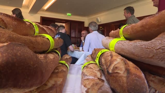 vídeos de stock, filmes e b-roll de judges selecting the best baguette in paris have strict criteria the winner must be crispy soft airy and beautiful to look at while distinguishing... - crocante
