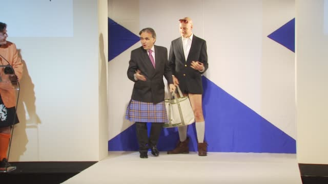 judges walk the runway at the 8th annual 'dressed to kilt' charity fashion show at new york ny - dressed to kilt stock videos & royalty-free footage