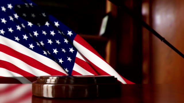 judges's gavel with usa flag - gavel stock videos & royalty-free footage