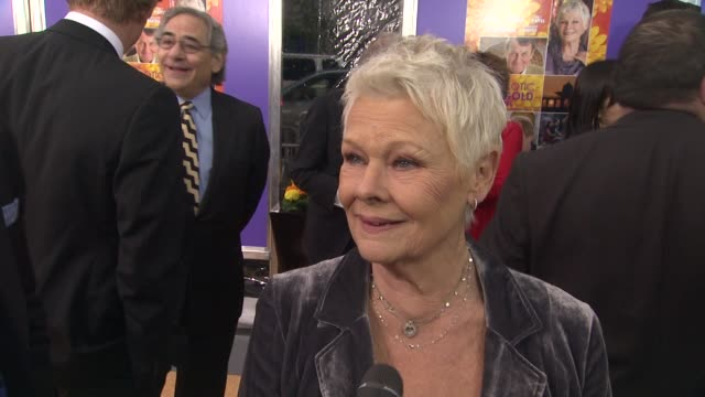 judi dench on playing her character at the best exotic marigold hotel new york premiere presented by fox searchlight pictures and participant media... - participant stock videos and b-roll footage