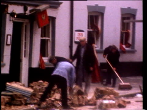judith ward freed on bail guildford lms wreckage of horse groom pub after bomb lms ditto - 保釈点の映像素材/bロール