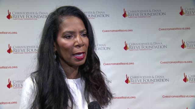 interview judy a smith discusses how it feels to be recognized tonight why fundraising and research is so important and how it feels to be continuing... - christopher and dana reeve foundation stock videos and b-roll footage