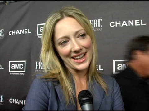 vídeos de stock, filmes e b-roll de judy greer on what she considers iconic on her icons on coco chanel bringing pants into women's fashion on her upcoming projects on being particulary... - judy greer