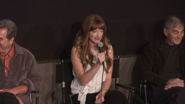 vídeos de stock, filmes e b-roll de judy greer talks about the crazy sex scene with george clooney in three kings at the 'the descendants' 49th annual new york film festival press... - judy greer