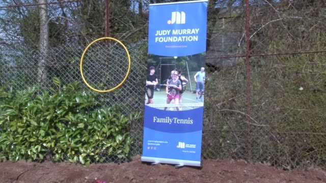 judy murray coaches tennis at maryhill park outside glasgow as she seeks to help breathe life into the tennis courts that have been restored by... - coach stock videos & royalty-free footage