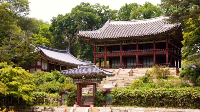 juhamnu pavilion(secret garden) of the changdeokgung palace. - pagoda stock videos and b-roll footage