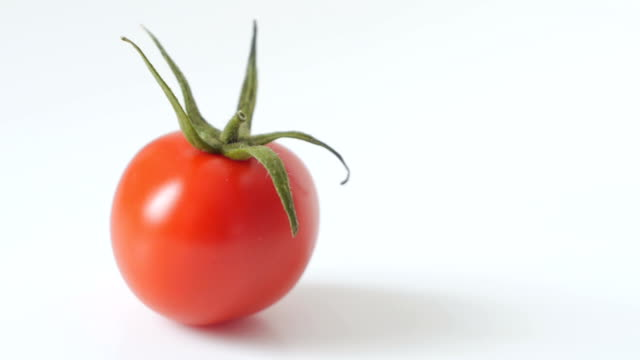 dolly: juicy fresh red tomato on white background - cherry tomato stock videos & royalty-free footage