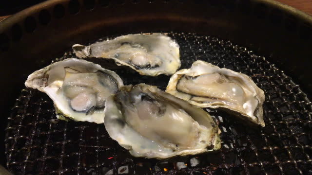 Juicy Oysters on Grill
