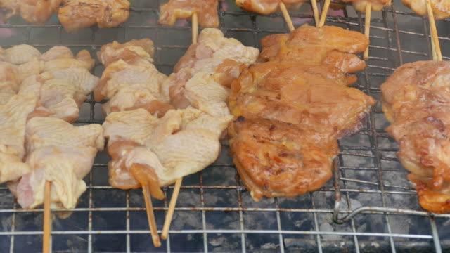 Saftiga skivor av kött på en Grill