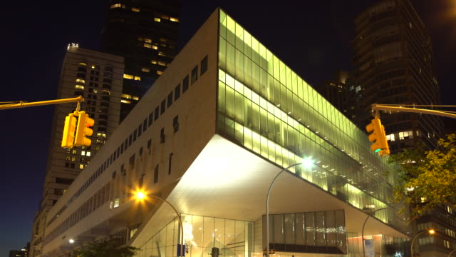 (night exterior) juilliard school, lincoln center plaza - west side, manhattan nyc - performing arts center stock videos & royalty-free footage