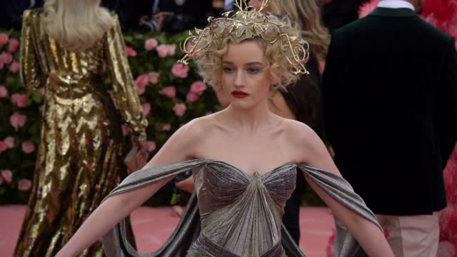 julia garner at the 2019 met gala celebrating camp notes on fashion arrivals at metropolitan museum of art on may 06 2019 in new york city - met gala 2019 stock videos and b-roll footage