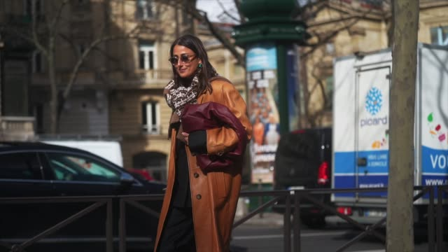 julia haghjoo wears sunglasses, a brown leather coat, a purple leather bag, a wool pullover with printed patterns, black pants, leather boots,... - brown stock videos & royalty-free footage