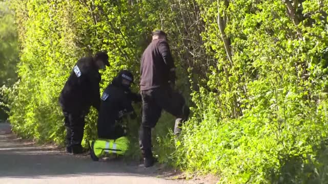 callum wheeler appears in court; england: kent: snowdown: akholt wood: ext various of police officers searching for evidence in connection with the... - crime and murder stock videos & royalty-free footage