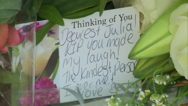 julia james murder: family pay tribute; england: kent: aylesham: ext floral tributes left at police cordon on aylesham road. close shot of message of... - rope stock videos & royalty-free footage