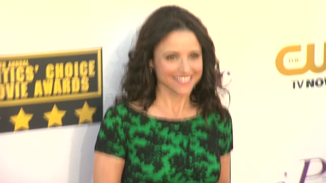 julia louis-dreyfus at 19th annual critics' choice movie awards - arrivals at the barker hanger on in santa monica, california. - critics' choice movie awards stock videos & royalty-free footage