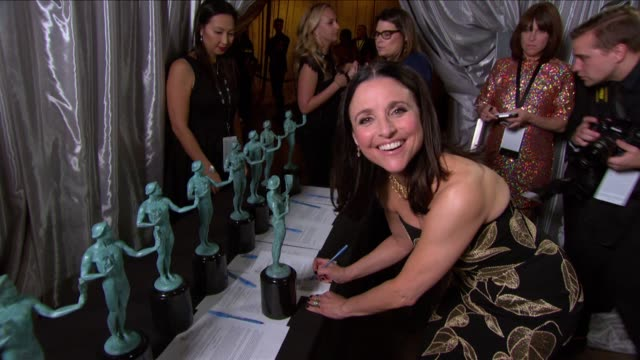 julia louisdreyfus at 23rd annual screen actors guild awards press room photo room at the shrine expo hall on january 29 2017 in los angeles... - screen actors guild stock videos & royalty-free footage