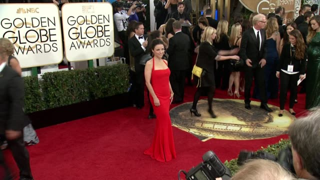 julia louis-dreyfus at 71st annual golden globe awards - arrivals at the beverly hilton hotel on in beverly hills, california. - the beverly hilton hotel点の映像素材/bロール