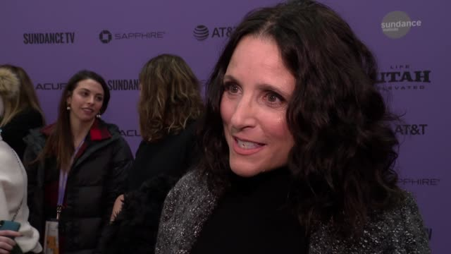 "interview julia louisdreyfus on the plot working with will audience takeaways at the ""downhill"" sundance premiere presented by searchlight pictures... - sundance film festival stock videos & royalty-free footage"