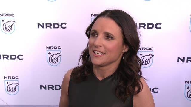 interview julia louisdreyfus on why the work of the nrdc is important to her at nrdc stand up for the planet la 2017 in los angeles ca - national resources defense council stock videos & royalty-free footage