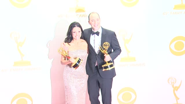 julia louis-dreyfus, tony hale at 65th annual primetime emmy awards - photo room on 9/22/2013 in los angeles, ca. - annual primetime emmy awards stock videos & royalty-free footage