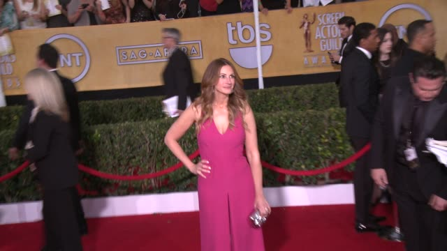 julia roberts at 20th annual screen actors guild awards arrivals at the shrine auditorium on in los angeles california - シュラインオーディトリアム点の映像素材/bロール