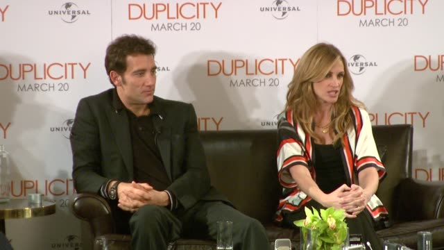 julia roberts & clive owen on how they laughed a lot whilst making the film but didn't play practical jokes on each other. they also talk about... - out of context stock videos & royalty-free footage
