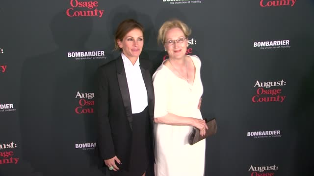 """julia roberts, meryl streep at """"august: osage county"""" los angeles premiere in city los angeles, on . - julia roberts stock videos & royalty-free footage"""